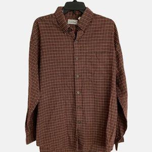 L.L. Bean Plaid Long Sleeve Shirt Mens Size L Red